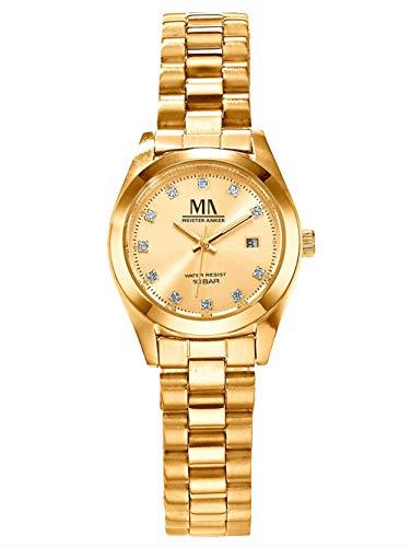Meister Anker Damen-Quarzuhr – Armbanduhr mit Analog-Anzeige, Metall-Uhr mit Edelstahl-Gliederarmband, in Gold