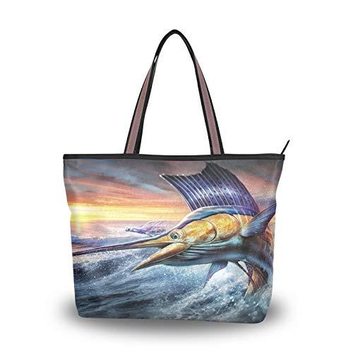 Bolsos de mano con correa de peso ligero, bolso de compras para mujeres, niñas, señoras, estudiantes, bolsos de hombro, bolso de mano, mar océano, pez vela fresco, animal saltador
