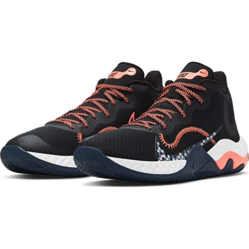 Nike Renew Elevate Basketball Shoe, Zapatos de Baloncesto Unisex Adulto, Black/Bright Mango-Thunder Blue, 42.5 EU