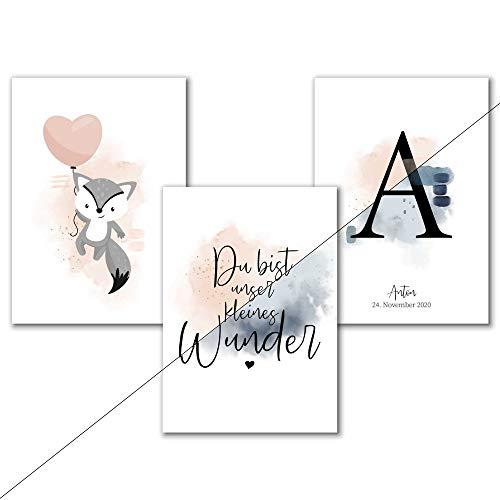 Personalisiertes Aquarell Kinderzimmer Poster mit Buchstabe für Mädchen in Rosa oder Jungen in Blau, Spruch Bilder Babyzimmer Deko, A4 Tierbilder Fuchs