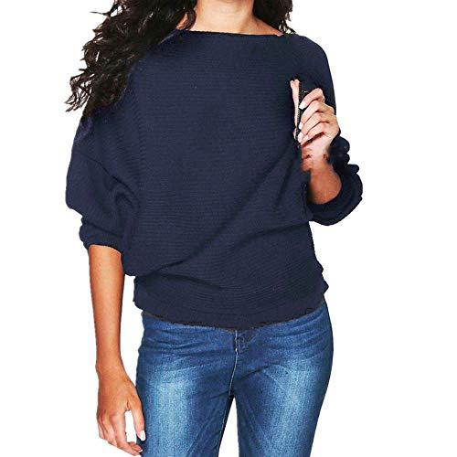 Kabxryaclo - Suéter de punto para mujer, manga larga, cuello redondo, para mujer
