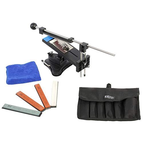 KKmoon Verbesserte Version Festwinkelmesserschärfer Profi Küchenmesser Sharpener Kits System 4 Schleifsteine Schwarz