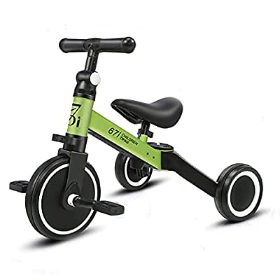 67i Tricycles for 2 Year Olds Toddler Tricycle 3 in 1 Tricycles Kids Trikes for Toddler Bike 3 Wheel Convert 2 Wheel with Removable Pedal and Adjustable Seat for 1-3 Years (Green) by 67i