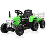 Kidzone Green 12V 7AH Kids Battery Powered Electric Tractor with Trailer Toddler Ride On Toy Ground Loader 3-Gear-Shift 7-LED Lights USB & Bluetooth Audio Treaded Tires