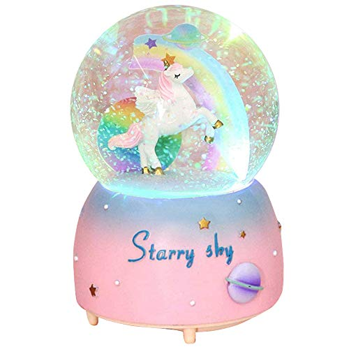 VECU Unicorn Snow Globe for Kids, 80 MM Snow Globe With Musics, Perfect Unicorn Music Box for...