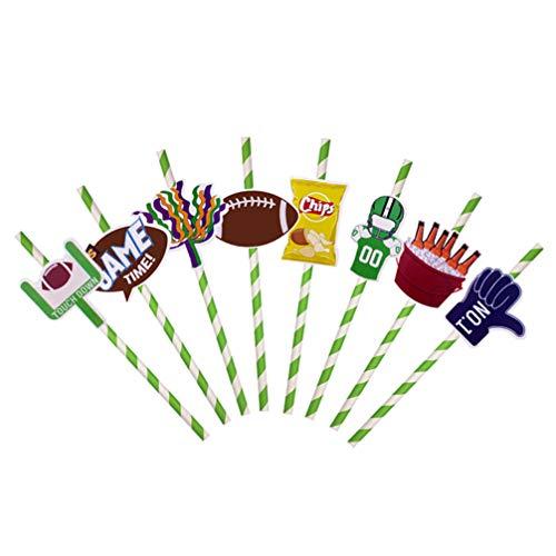 Amosfun 16 stks Voetbal Super Bowl Cupcake Toppers Tandenstokers en Papier Starw Set voor Verjaardag Baby Douche Party benodigdheden 8 stks Stro, 8 stks Cake Picks, 16 stks/Pack) Size 1 Afbeelding 1