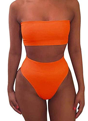 Cutiefox Women's High Waisted Swimsuit Bandeau Bikini Bathing Suit Orange XL