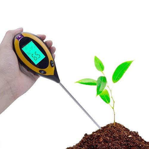 HUBI Probador del Suelo, el Suelo probador del Detector de luz Acidez del Suelo Medidor 4 en 1 Medidor de Ph Humedad del Suelo Temperatura Count explícita, Grande para el Cuidado de Las Plantas