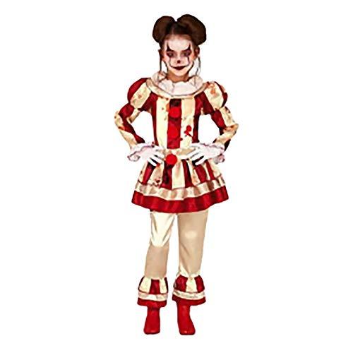 LISI Traje Payaso It Pennywise Clown Disfraz para Nios Halloween Carnaval Contiene Vestido y Cuello para Nias 3Tallas,Rojo,S