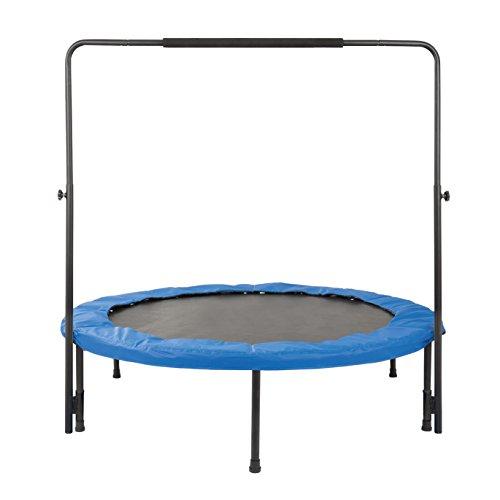 Fitness-Trampolín con un diámetro de 140 cm con barra de sujeción