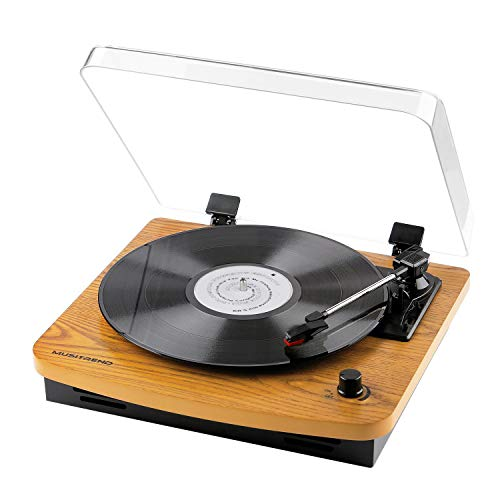Musitrend Record Player 3-Speed Belt-Drive Turntable with Built-in Stereo Speakers