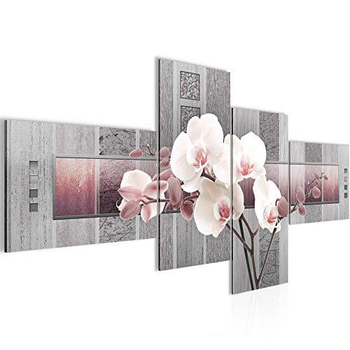 Bilder Blumen Orchidee Wandbild 200 x 100 cm Vlies - Leinwand Bild XXL Format Wandbilder Wohnzimmer Wohnung Deko Kunstdrucke Rosa Grau 4 Teilig - Made IN Germany - Fertig zum Aufhängen 204641c