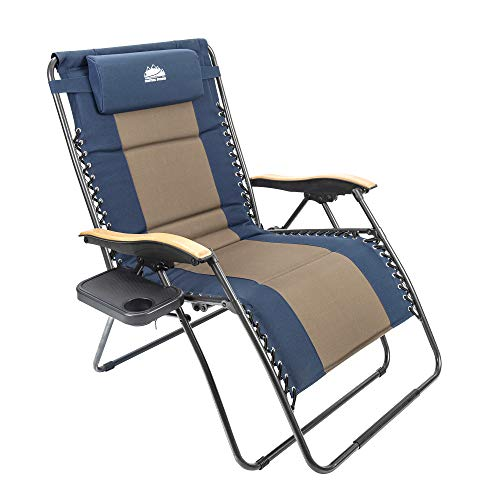 Coastrail Outdoor Zero Gravity Chair Wood Armrest XXL Camping Lounge Patio Support 400lbs Padded Folding Lawn Recliner with Side Table, Blue/Brown