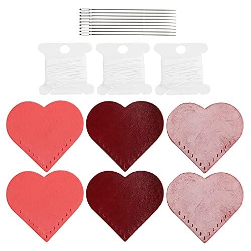 Marcador de cuero con forma de corazón, marcador de libro de lectura, atractivo y elegante, 6 piezas, hecho a mano para marcador, colgante para marcador