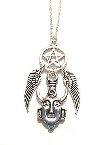 Giuly's Creations - Collar de Metal sin níquel con medallón Humano, diseño de alas de ángel y Demonio Tribal