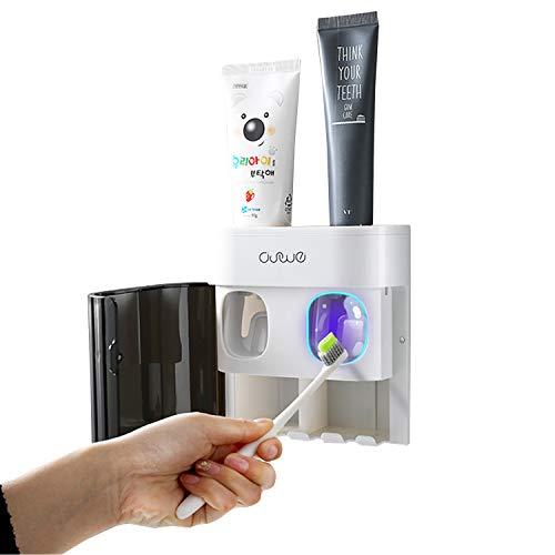 SIMIN automatischer zahnpastaspender, Zahnbürstenhalter Wandhalterung Automatische Zahnpastaspender für Baby Kinder Frauen Eltern Badezimmer