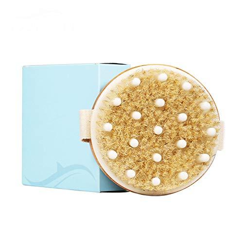 Peau sèche Corps de la brosse, sanglier naturel Bristle & caoutchouc Tête de massage, la peau morte Retirer et Toxines, exfolie améliore les fonctions Lymphatique,Round