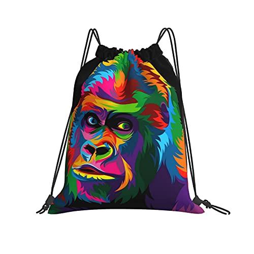 Mochila de mono colorido con cordón para deporte, gimnasio, senderismo, yoga, natación, viajes, playa, para mujeres y hombres - blanco - talla única