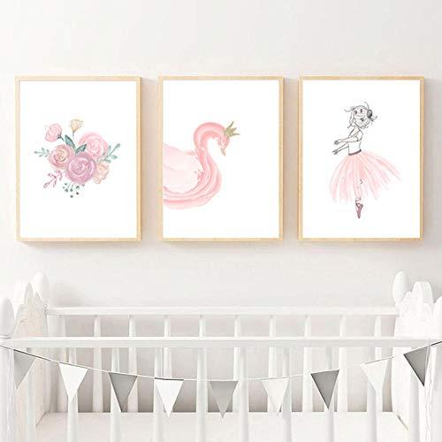 Roze gouden ballerina bloemen kwekerij Wall Art foto afdrukken canvas schilderij posters en prints Nordic baby meisje slaapkamer decor-40x60cmx3 stuks (geen frame)