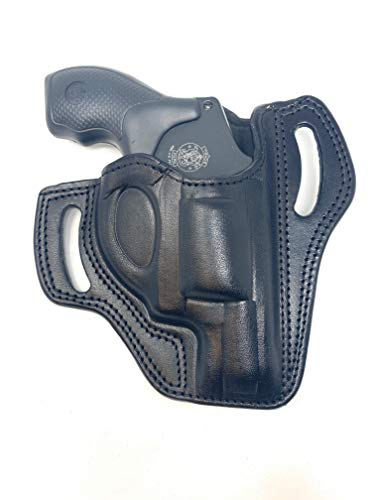 "Cardini Leather OWB Leather Holster for S&W J Frame, for Ruger LCR and SP101, and Other 38 Special Snub Nose Revolver up to 2.25"" Barrel - Black Right Hand"