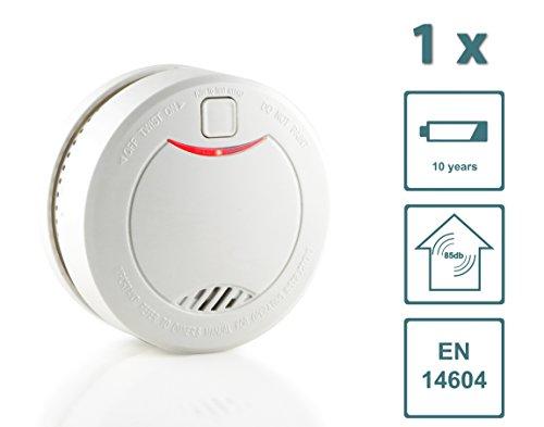 Slabo Rauchmelder/Feuermelder/Brandmelder mit 10 Jahres-Batterie und fotoelektrischen Sensor – Weiss - 1er Set