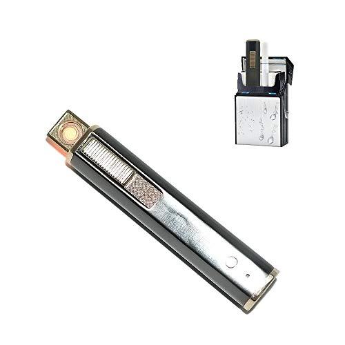 KAKAKA Flammenlose winddichte Feuerzeuge, wiederaufladbar, elektrisches Lichtbogen-Feuerzeug, tragbar und sicher, mit USB-Ladekabel, Geschenk-Box (schwarz)