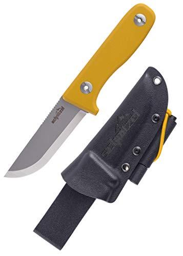 SCHNITZEL DU - Outdoormesser mit Scheide und Feuerstahl für Kinder ab 10 Jahre - scharf inkl. Gürtelhalterung, div Farben - Kindermesser Schnitzmesser Fahrtenmesser, (Gelb)