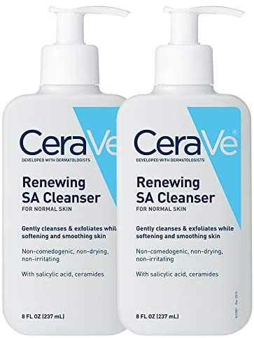 CeraVe SA Cleanser | Salicylic Acid Face Wash with Hyaluronic Acid, Niacinamide & Ceramides| BHA Exfoliant for Face | 8 Ounce