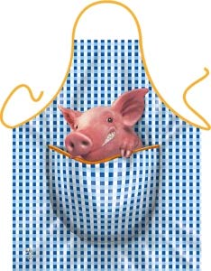 Geile-Fun-T-Shirts Grillschürze Schweinchen Küchenschürze Koch Schürze geil Bedruckt Geschenk Set mit Mini Flaschenschürze