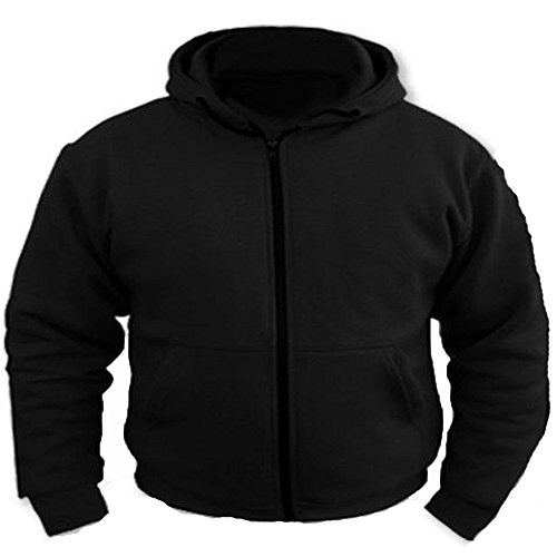 Bikers Gear UK Motorcycle Removable Armoured Full Kevlar Ultimate Protection Black Hoodie Hoody (Black, 3XL)
