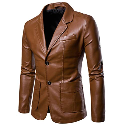 Herren Lederjacke Blazer Einfarbig Trend Kunst- Kunstleder Mantel Zwei Knopf Freizeit Bikerjacke Multi-Pocket Übergangsjacke Männer Racer Business Casual Revers Top XXL