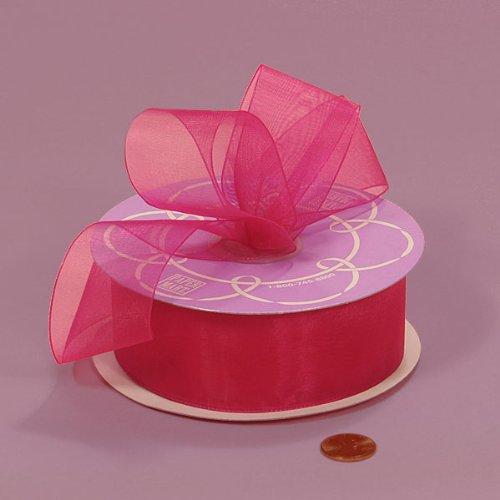 Hot Pink Shimmer Sheer Organza Ribbon, 1-1/2' X 25Yd