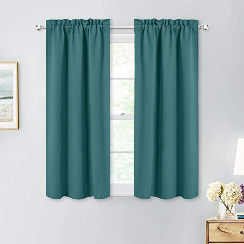 NICETOWN Blackout Curtain Panels for Windows - Thermal Insulated Solid Rod Pocket Light Blocking Window Treatment Drapes for Bedroom/Kitchen/Bathroom, 2 PCs, 29W x 45L inches, Sea Teal