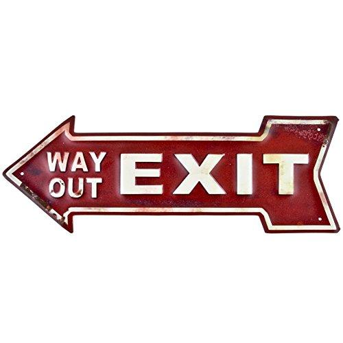 Dadeldo Living & Lifestyle Blechschild Pfeil Exit Way Out Design Metall 14x40cm rot-creme Retro Nostalgie Sprüche Reklame