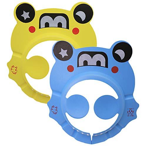 Yisika Duschhaube Baby,2 PCS Duschhaube für Kinder Weiche und Wasserdichte Shampoo Duschhaube Verstellbarer Duschvisierhut Schützen Sie Augen und Ohren für Kinder im Alter von 0 bis 9 Jahren