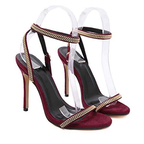 BZBZBZ Zapatos de Las Mujeres de la Bomba Ankel Correas Slingbacks Sandalias 11cm Estilete del Dedo del pie Abierto de Tenis de tamaño OL Vestido de los Zapatos 35-40 EU,B,EU36