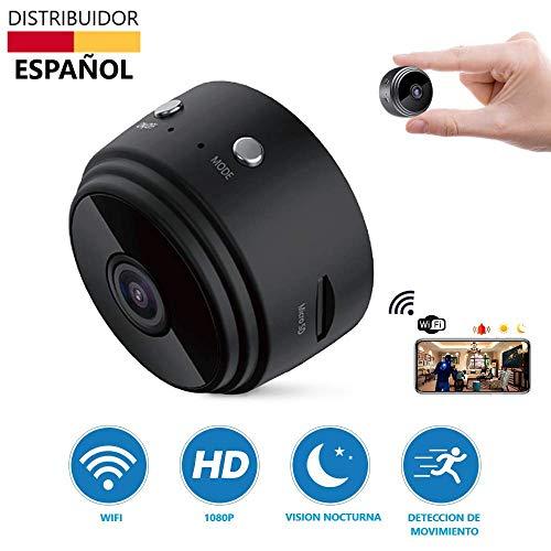 Mini Camara Espia Oculta WiFi Video Cámara, Tecnoxer 1080P HD Cámara Portátil Interior/Camaras de Seguridad Pequeña Interior/Exterior/IR Visión Nocturna