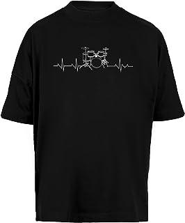 Tambores Latido del Corazón - Gracioso Batería Unisex Camiseta Holgada Hombre Mujer Mangas Kortas - Unisex Baggy T-Shirt B...