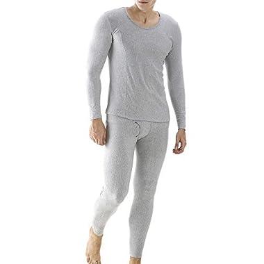 Ekouaer Men's Cotton Long John Thermal Underwear Set Base Layer Shirt&Pants(Grey,2XL)