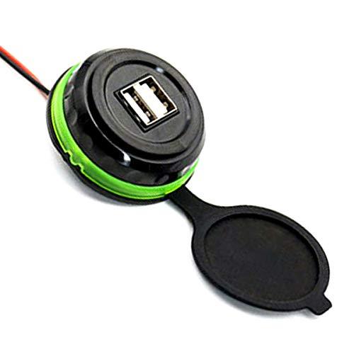 Jinxuny 3.1A dubbele laadaansluiting USB-autolader schakelbord inbouw 2-poorts stekkeradapter voor DC 12-24V, groen