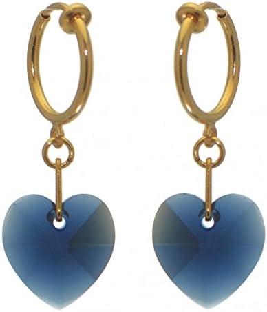 VALENTINE CERCEAU gold plated dark indigo crystal heart clip on earrings