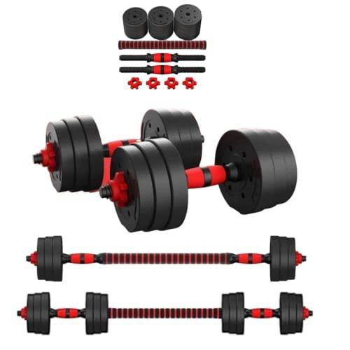 Perpetual Kit Mancuernas Regulables 20KG Musculación Juego Pesas 2 en 1 Barra Conector Ajustable Set Pesas Gimnasio en Casa Pack Dumbbell Hombre Mujer Principiantes Entrenamiento Fuerza