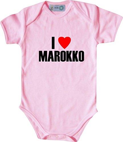 Unbekannt Cooler WM Länder Baby Body/I Love MAROKKO/Farbe: Babyrosa/Größe: 86-92 (18-23 Monate)