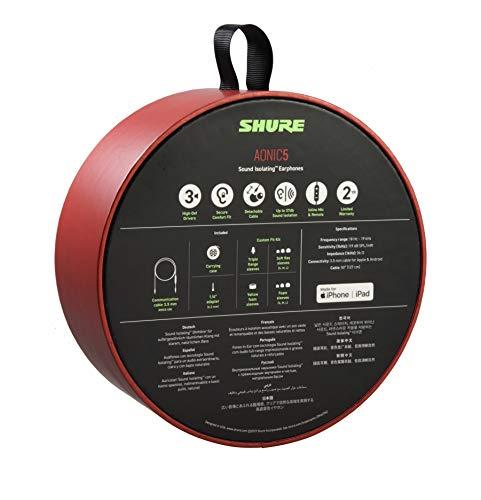 Auriculares Shure AONIC 5 con aislamiento de sonido con cable, sonido nítido, transductor único, ajuste intraural, cable desmontable, compatible con dispositivos Apple y Android - Color rojo