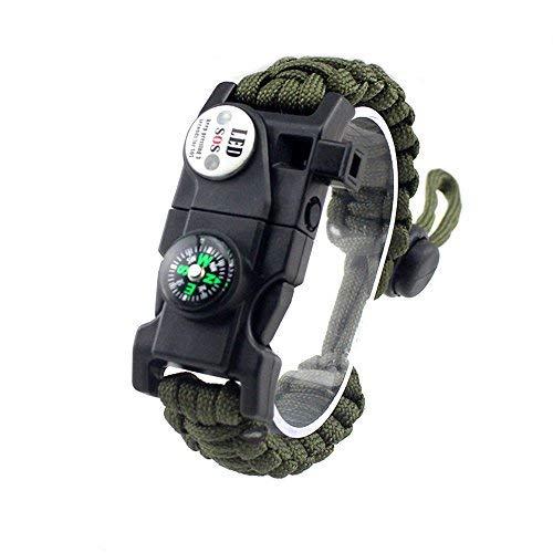 MansWill Pulsera de Supervivencia Ajustable, 7-Coeur Paracord Survival Wristband de Deporte, Verde Caqui