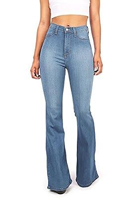 Vibrant Women's Juniors Bell Bottom High Waist Fitted Denim Jeans,Denim,5