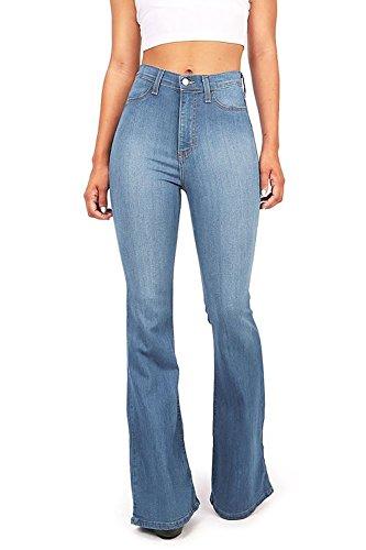 Vibrant Women's Juniors Bell Bottom High Waist Fitted Denim Jeans,Denim,9