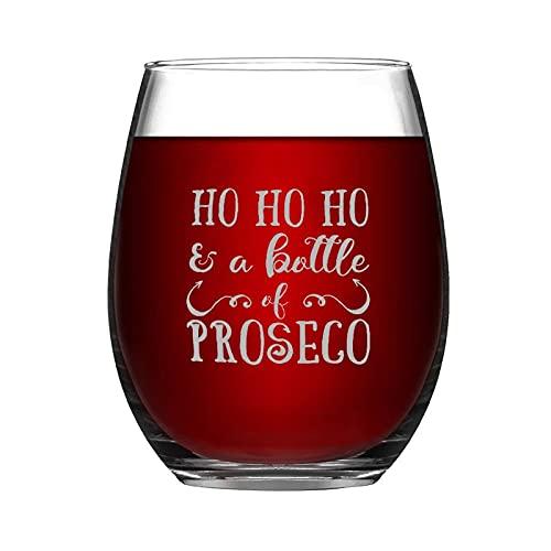 Christmas Presents - Copa de vino con cita divertida y sin tallo, 15 onzas Ho Ho Ho y una botella de vino transparente Proseco para vino tinto y blanco
