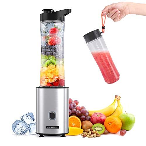 BLACKHORSE Mixer smoothie maker mini standmixer tragbarer smoothie mixer mit 2 tragbaren Reiseflaschen 570ml