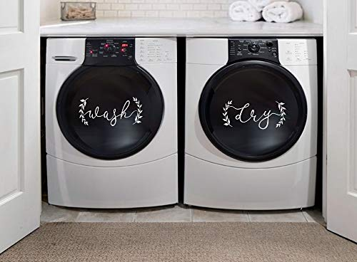 BERRYZILLA Farmhouse Style Wash and Dry Decal Modern Trendy Cute Washer Quote for Home Apartment Washing Machine Dryer Laundry Room
